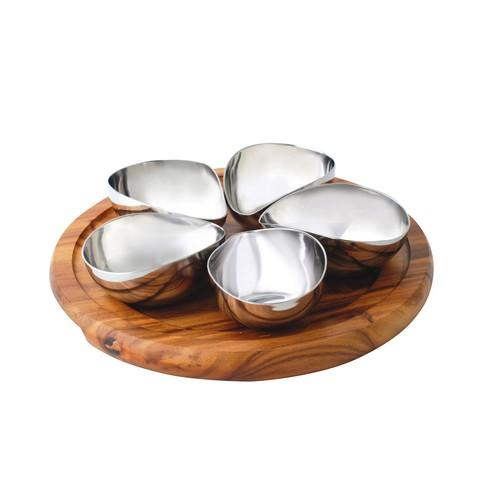 CONDIMENT SET WOOD BOARD ROUND 260MM W/4 S/S BOWLS ATHENA