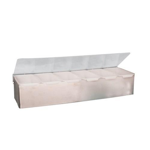 BAR CADDY S/S 6 SECTIONS PLASTIC LID