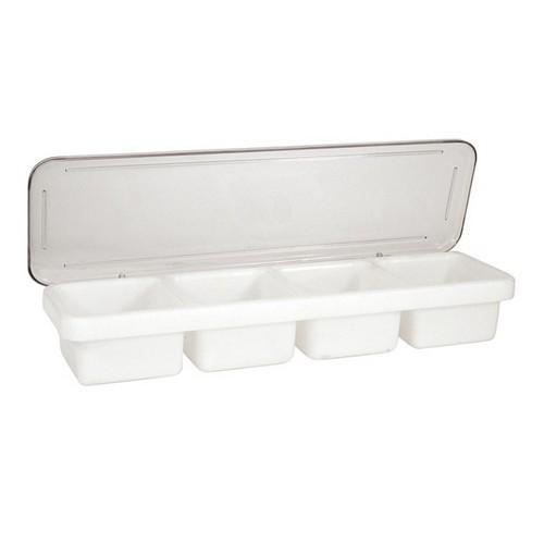 BAR CADDY PLASTIC 4 SECTION W/LID 475X155X80MM