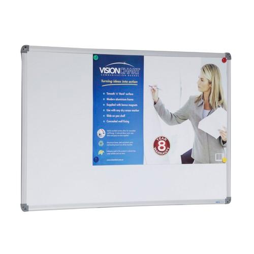 WHITE BOARD MAGNETIC ALUM FRAME 1200X900MM VISIONCHART
