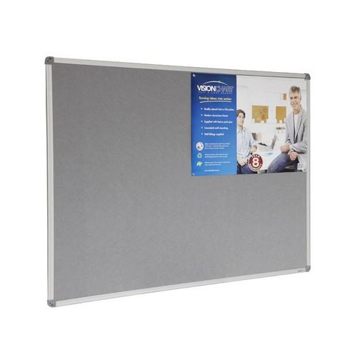 NOTICE  BOARD GREY FELT ALUM FRAME 900X600MM VISIONCHART