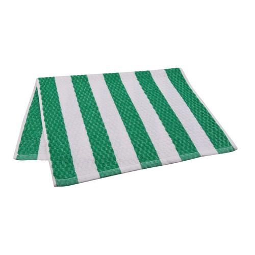 BAR SWAB TOWEL GREEN / WHITE STRIPE 380X600MM