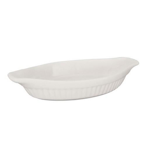 DISH AU GRATIN OVAL RIBBED 290MM 650ML BASICS