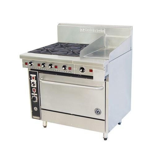 RANGE 4 BURNER/GRIDDLE W/OVEN 914MM GAS GOLDSTEIN