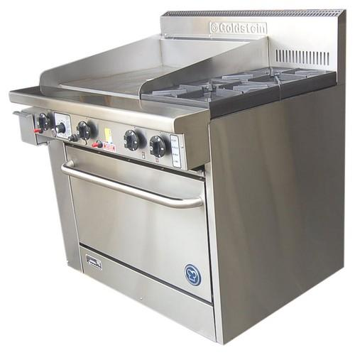 RANGE 2 BURNER/GRIDDLE W/OVEN 914MM GAS GOLDSTEIN