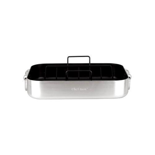 ROAST PAN NON STICK RECT 400X300X80MM W/H PROFILE CHEF INOX