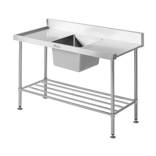 DISHWASHER INLET BENCH S/S RIGHT W/SINK 1650X600X900MM SIMPLY STAINLESS