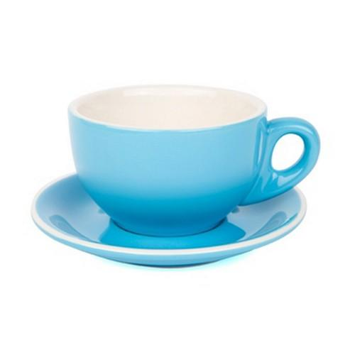 LARGE CAPPUCCINO CUP & SAUCER 280ML SKY BLUE