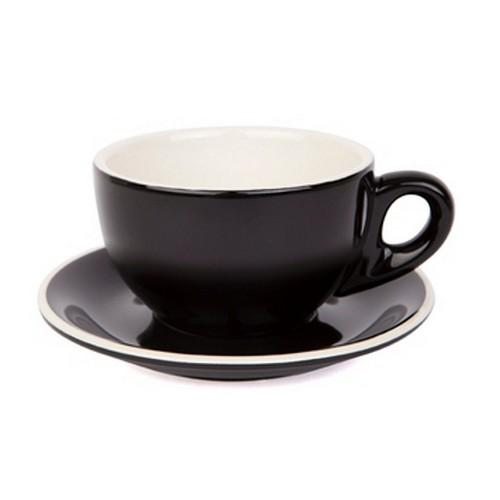 LARGE CAPPUCCINO CUP & SAUCER 280ML BLACK