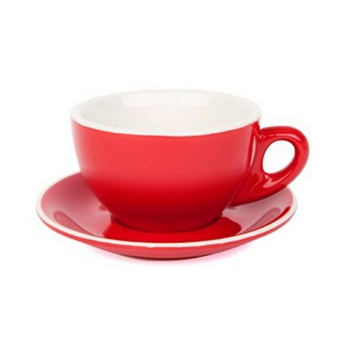 LARGE CAPPUCCINO CUP & SAUCER 280ML RED