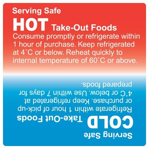 LABEL - HOT / COLD - BLUE / RED 75X75MM PERMANENT