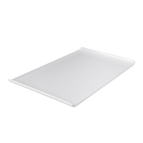 PLATTER RECT W/LIP 530X320MM WHITE MELAMINE RYNER