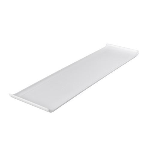 PLATTER RECT W/LIP 555X155MM WHITE MELAMINE RYNER