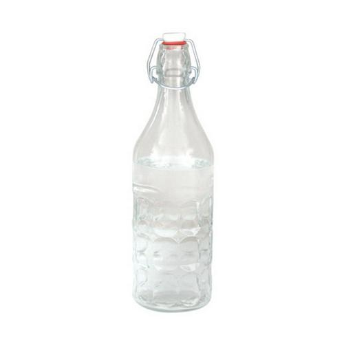BOTTLE GLASS 1L PANELLED CLEAR