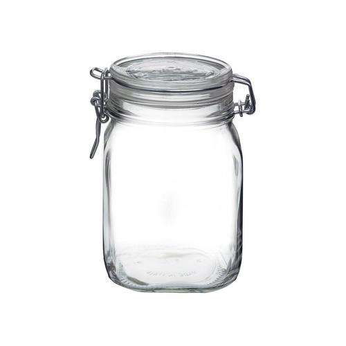 JAR STORAGE GLASS 1L W/CLIP FIDO BORMIOLI
