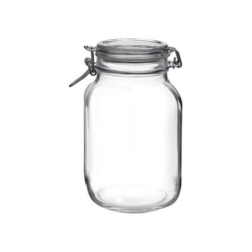 JAR STORAGE GLASS 2L W/CLIP FIDO BORMIOLI