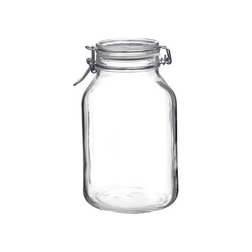 JAR STORAGE GLASS 3L W/CLIP FIDO BORMIOLI