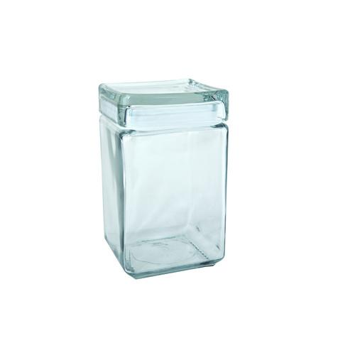 JAR STORAGE GLASS SQUARE 1.42L STACKABLE ANCHOR