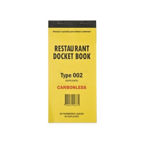 DOCKET BOOK RESTAURANT LGE 2P CARBONLESS 50X2
