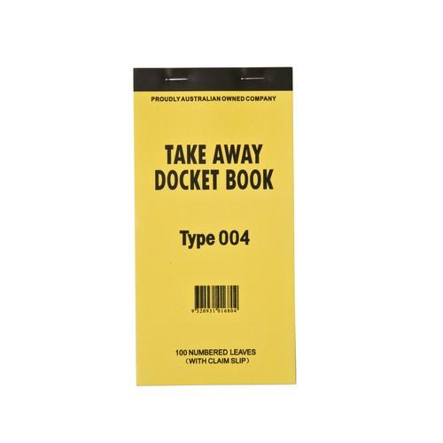 DOCKET BOOK TAKEAWAY LGE 1P W/TEAROFF SLIP 100X1