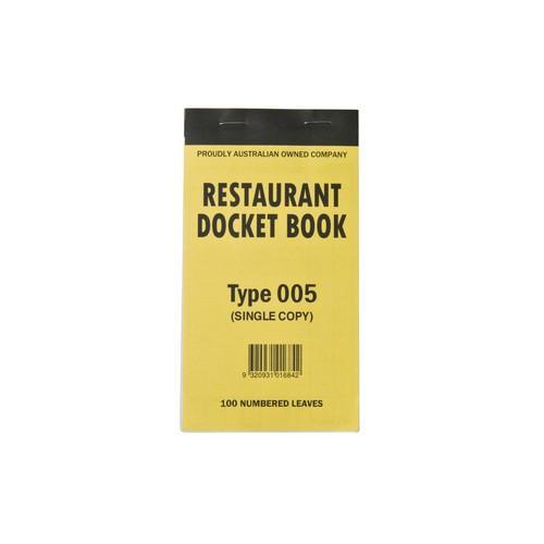 DOCKET BOOK RESTAURANT MED 1P SINGLE COPY 100X1