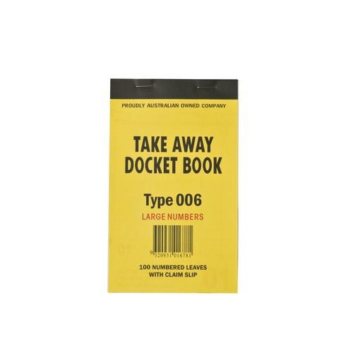 DOCKET BOOK TAKEAWAY MED 1P W/TEAROFF SLIP 100X1