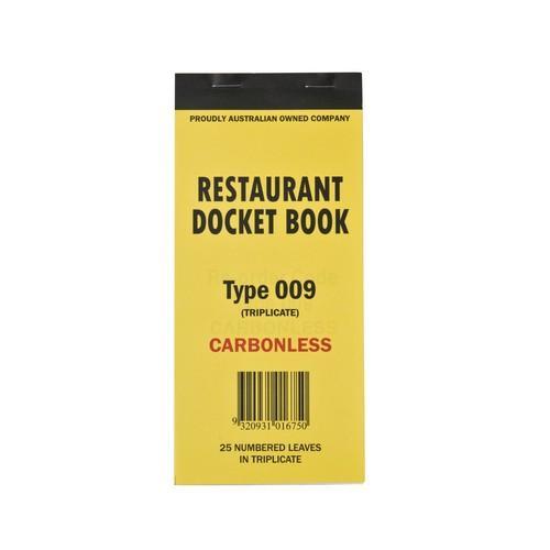 DOCKET BOOK RESTAURANT LGE 3P CARBONLESS 25X3