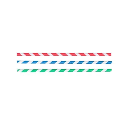 STRAW REGULAR PAPER BLUE & WHITE STRIPED 205MM (CT2500)
