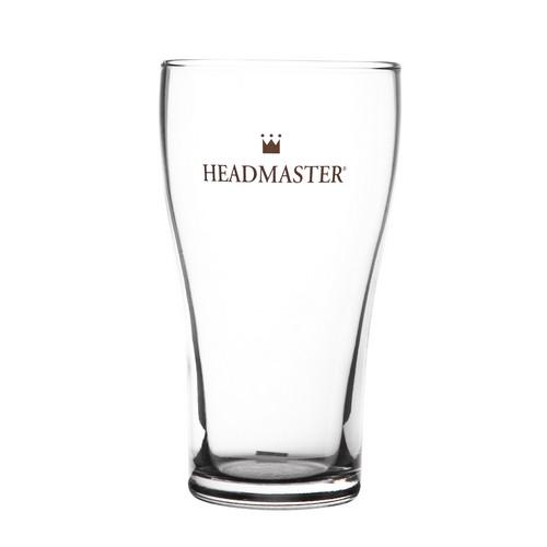 BEER GLASS 425ML CERTIFIED CONICAL HEADMASTER CROWN