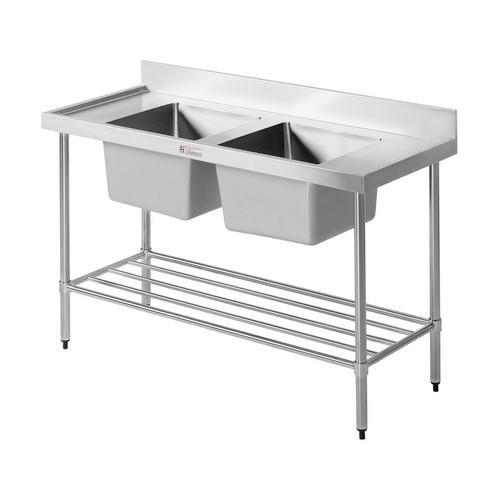 DOUBLE SINK BENCH S/S 1800X600X900MM SIMPLY STAINLESS