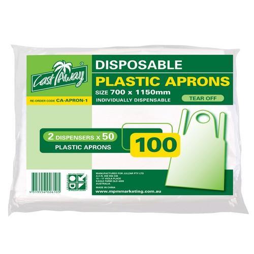 APRON DISPOSABLE PLASTIC WHITE 1150X700MM CASTAWAY (PK100)