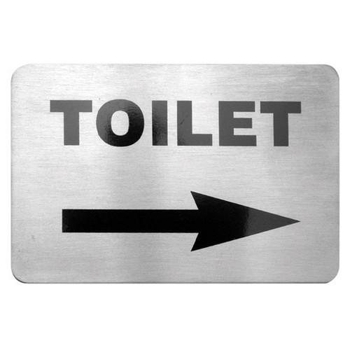 SIGN - TOILET W/RIGHT ARROW S/S 120X80MM