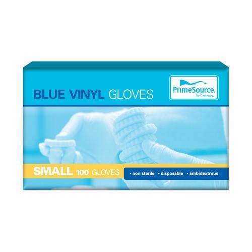 GLOVE VINYL SMALL BLUE POWDERED (PK100)