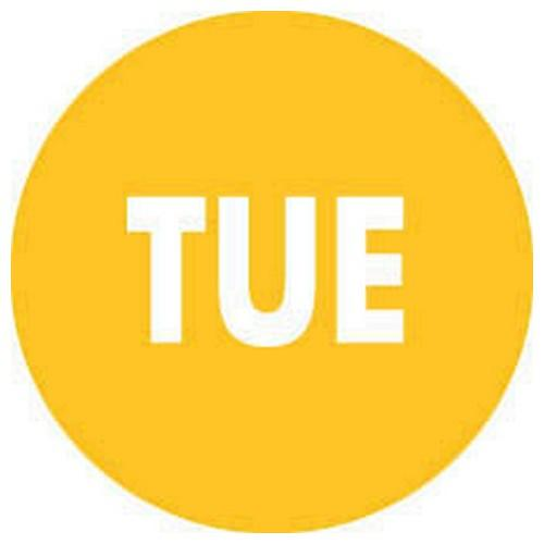 LABEL - DAY TUESDAY / YELLOW ROUND 19MM REMOVABLE (RL2000)