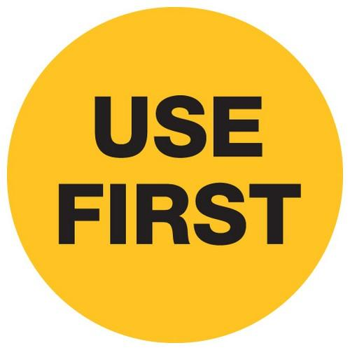 LABEL - USE FIRST - YELLOW / BLACK ROUND 40MM REMOVABLE (RL500)