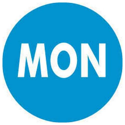 LABEL - DAY MONDAY / BLUE ROUND 19MM REMOVABLE (RL2000)
