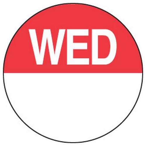 LABEL DAY - WEDNESDAY / RED ROUND 24MM REMOVABLE (RL1000)