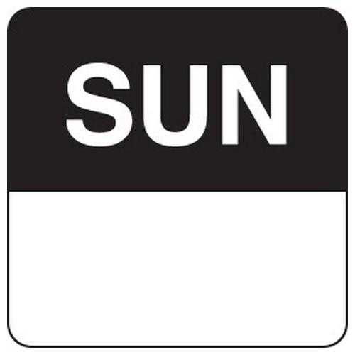 LABEL DAY - SUNDAY / BLACK SQUARE 24MM REMOVABLE (RL1000)