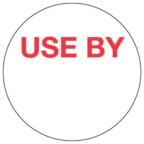 LABEL - USE BY - WHITE / RED ROUND 40MM REMOVABLE (RL500)