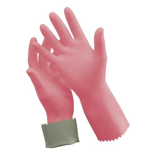 GLOVE RUBBER SILVER LINED PINK SMALL #7 OATES