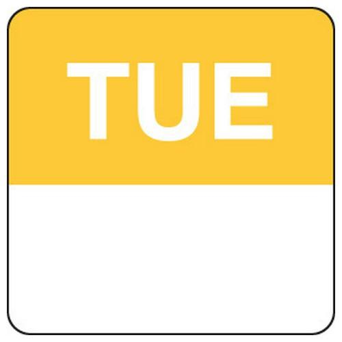 LABEL DAY - TUESDAY / YELLOW SQUARE 24MM REMOVABLE (RL1000)