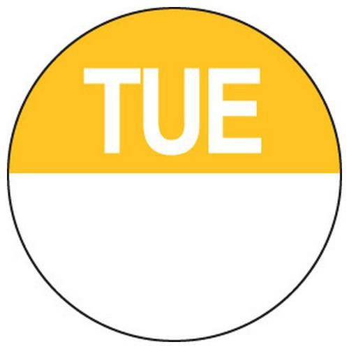 LABEL DAY - TUESDAY / YELLOW ROUND 24MM REMOVABLE (RL1000)
