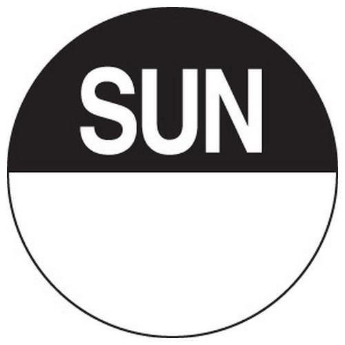 LABEL DAY - SUNDAY / BLACK ROUND 24MM REMOVABLE (RL1000)