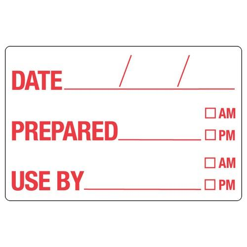 LABEL - DATE PREPARED / USE BY - WHITE / RED 49X75MM DISSOLVABLE (RL250)