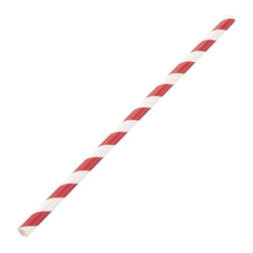 STRAW REGULAR PAPER RED & WHITE STRIPED 205MM (CT2500)