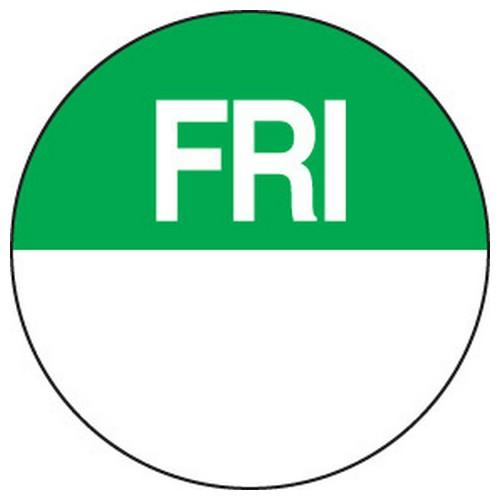 LABEL DAY - FRIDAY / GREEN ROUND 24MM REMOVABLE (RL1000)
