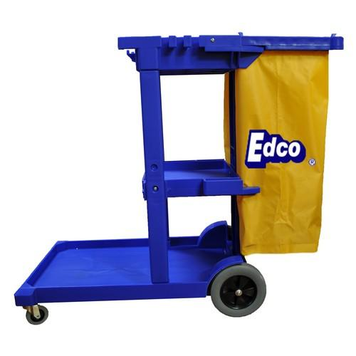 CART JANITORS CLEANING BLUE W/YELLOW BAG EDCO