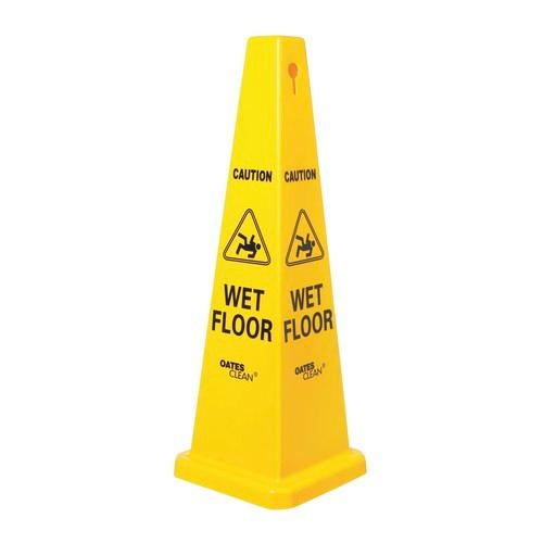 WET FLOOR SIGN YELLOW PYRAMID CONE 320X1170MM EDCO