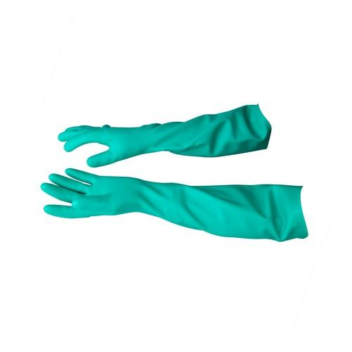 GLOVE RUBBER FLOCK LINED GAUNTLET #7 GREEN SOLVEX ANSELL