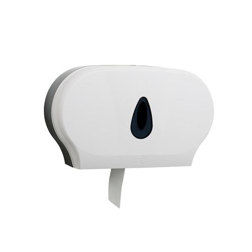 DISPENSER DOUBLE PLASTIC WHITE FOR JUMBO TOILET ROLL